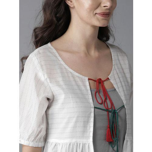 Moda Rapido Women Grey & White Solid Straight Kurta With Ethnic Jacket