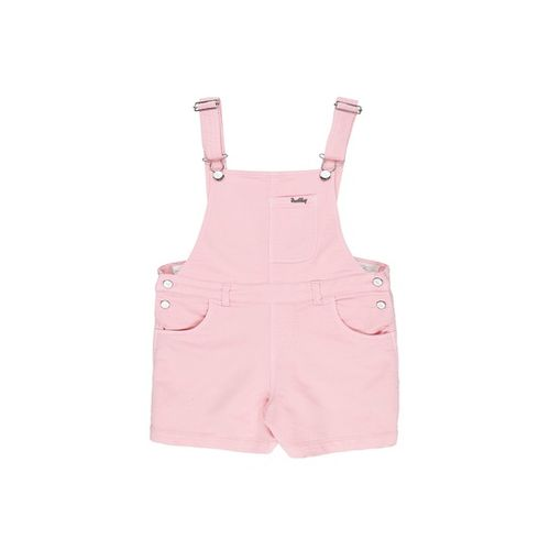 Gini & Jony Kids Pink & White Solid Dungaree With Top