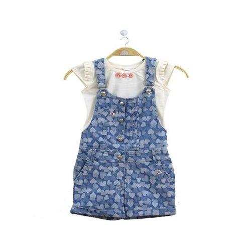 Peppermint Kids Blue & White Printed Top With Dungaree