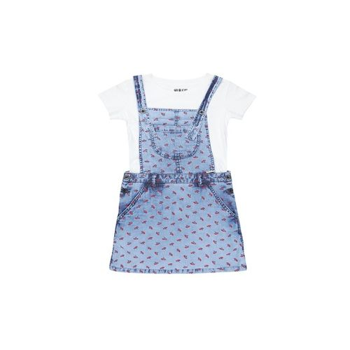 Gini & Jony Kids Blue & White Printed Dungaree With Top