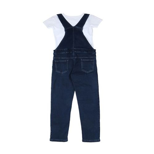 Gini & Jony Kids Dark Blue Solid Dungaree