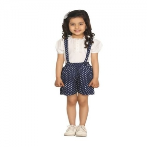 LilPicks Kids White & Blue Printed Dungaree With Top