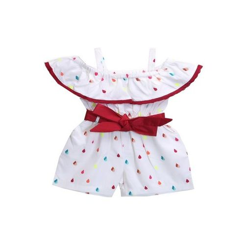 LilPicks Kids White Printed Playsuit With Belt