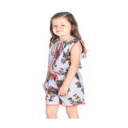 Cherry Crumble California Kids Blue Floral Print Playsuit
