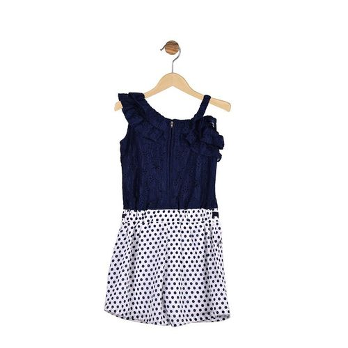 Peppermint Kids Royal Blue & White Printed Playsuit