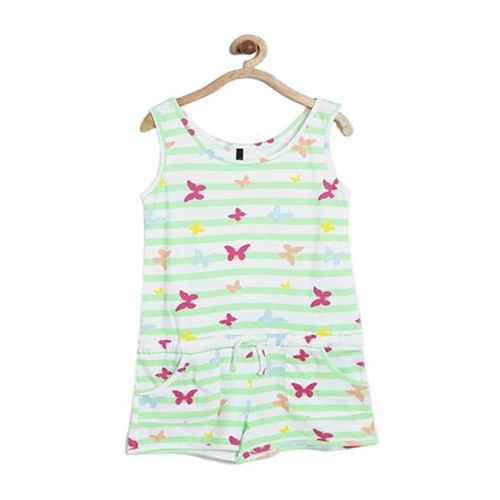 United Colors of Benetton Kids Green & White Printed Playsuit