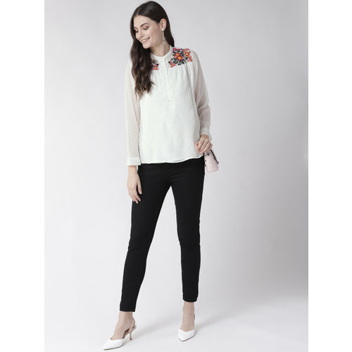 Antheaa Women Off-White Self Design Shirt Style Top