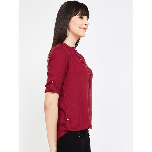 Bossini Women Burgundy Solid Shirt Style Top