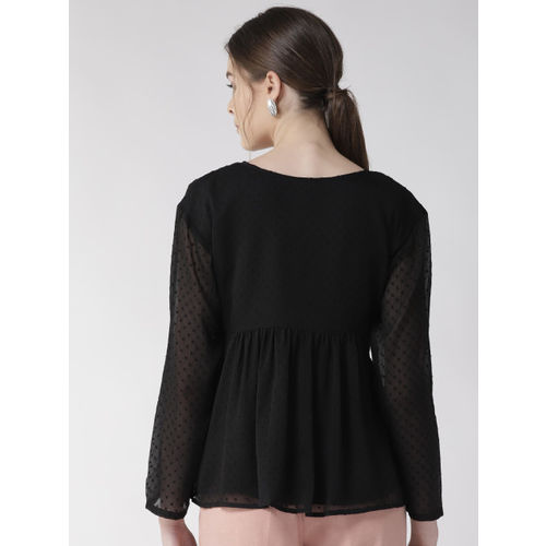 Antheaa Women Black Embroidered A-Line Top