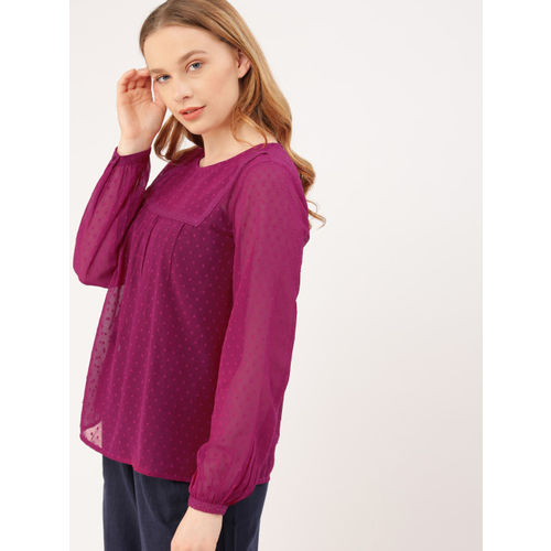 DressBerry Women Burgundy Self Design Regular Top