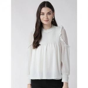 Antheaa Women Off-White Self Design A-Line Top