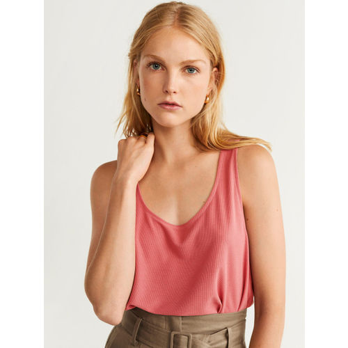 MANGO Women Pink Ribbed Top