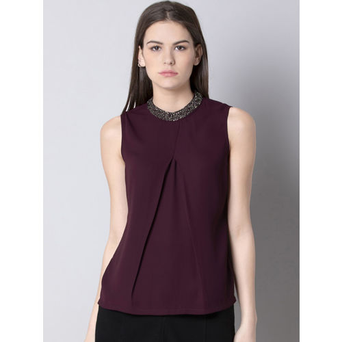 FabAlley Women Purple Solid A-Line Top
