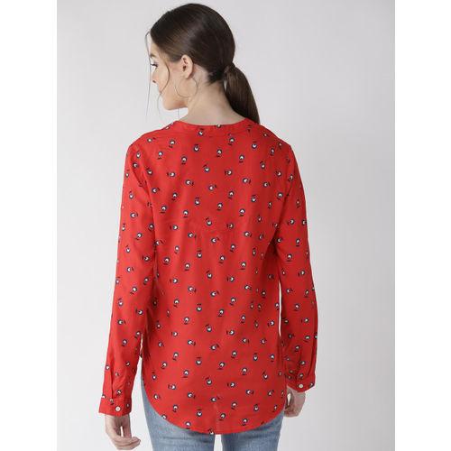 Marks & Spencer Women Red & Navy Blue Floral Print Top