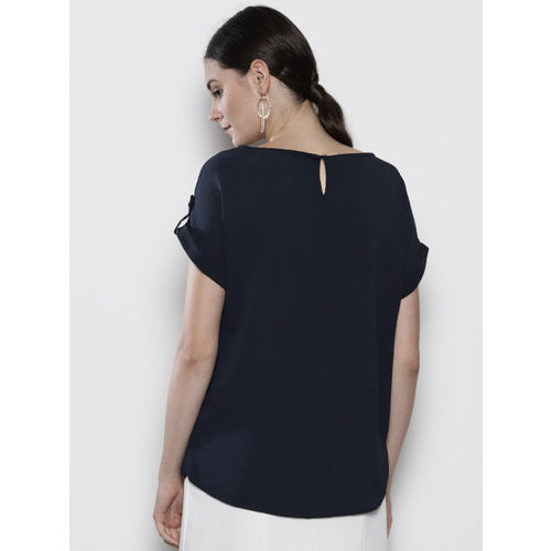 DOROTHY PERKINS Women Navy Blue Solid Top