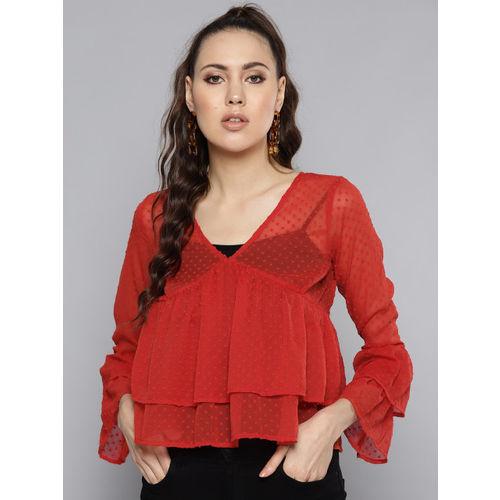 Trend Arrest Women Rust Red Semi-Sheer Dobby Weave Layered Top