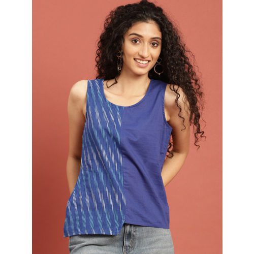 Taavi Women Blue & White Woven Design Ikat Top with