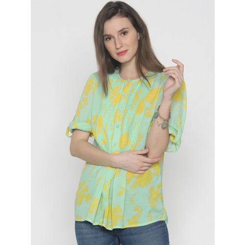 Vero Moda Women Green & Yellow Printed Shirt Style Top