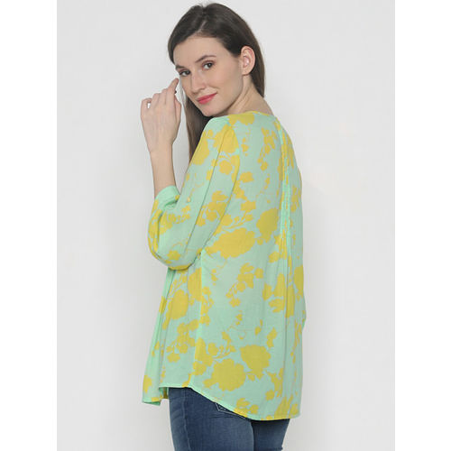 Vero Moda Women Green & Yellow Printed Shirt Style Top