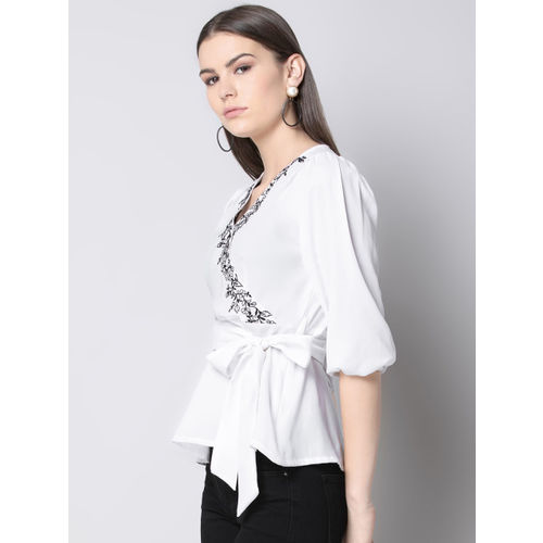 FabAlley Women White Embellished Wrap Top