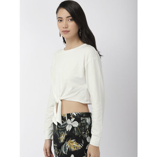 FOREVER 21 Women White Solid Cinched Waist Crop Top