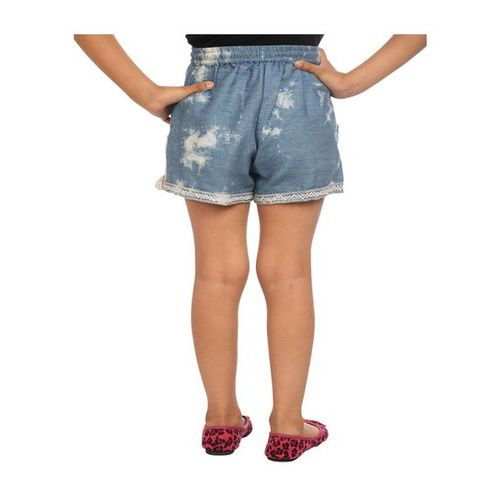 BIBA Girls Blue Embroidered Shorts