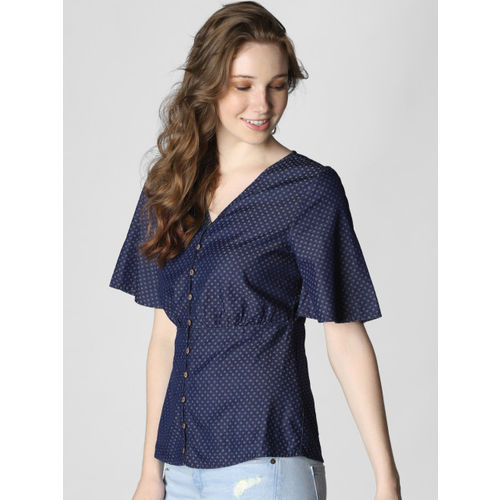Vero Moda Women Blue Printed Cinched Waist Chambray Top
