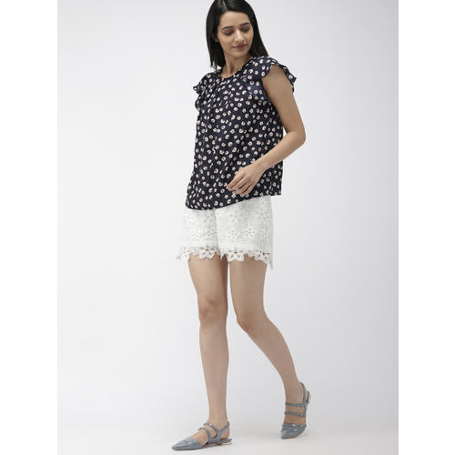 FOREVER 21 Women Navy Blue & White Printed Top