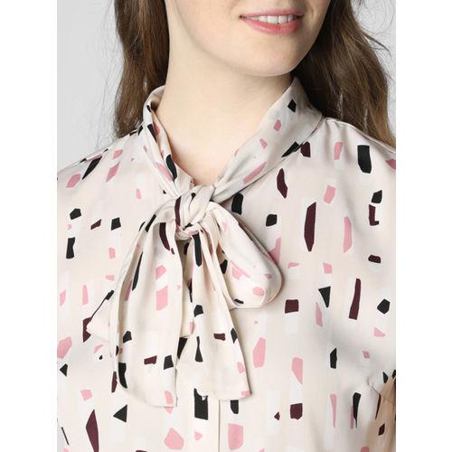 Vero Moda Women Beige Printed Tie-up Neck Top