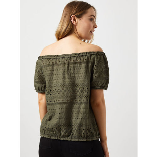 DOROTHY PERKINS Women Olive Green Schiffli Embroidered Bardot Top