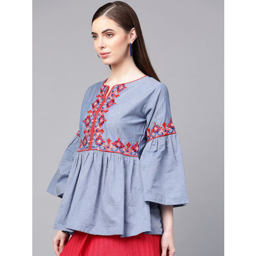 Bhama Couture Women Blue Embroidered A-Line Top