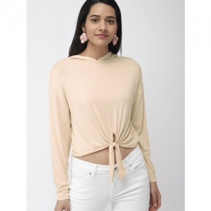 FOREVER 21 Women Beige Solid Cinched Waist Crop Top