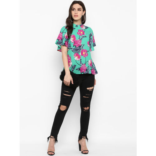 MIAMINX Women Green & Pink Printed A-Line Top