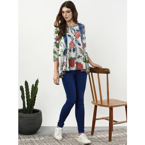 Sangria Women Blue & Red Printed A-Line Top