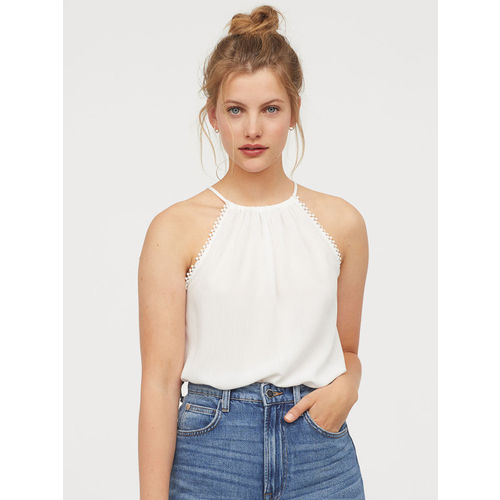 H&M Women White Solid Crinkled Strappy Top