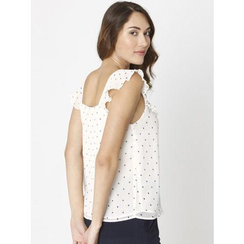 Vero Moda Women White Printed Semi Sheer Top