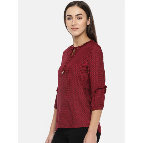 Kraus Jeans Women Red & Black Self Checked Top