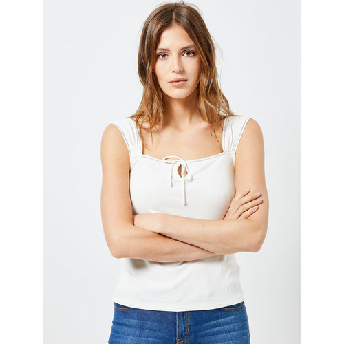 DOROTHY PERKINS Women White Ribbed Top