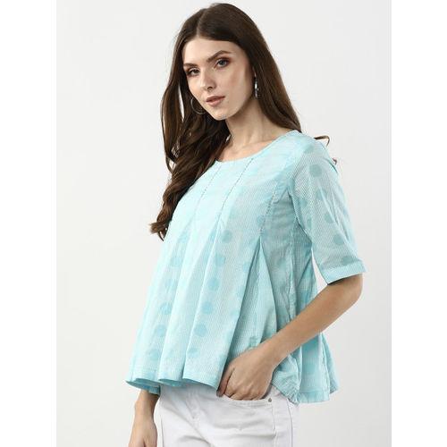 Sangria Women Blue & White Printed A-Line Top
