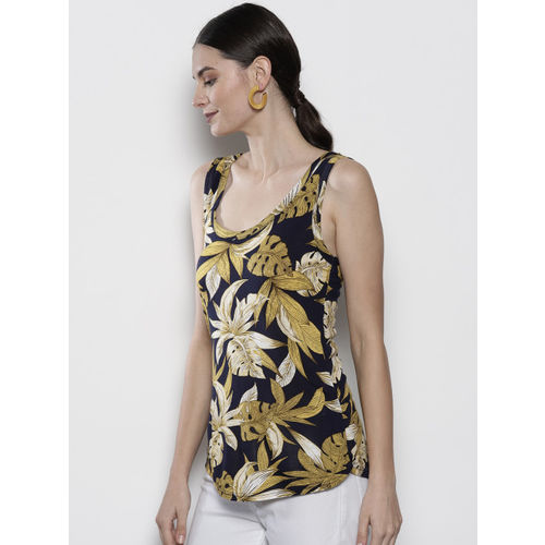 DOROTHY PERKINS Women Navy Blue & Mustard Yellow Printed Top