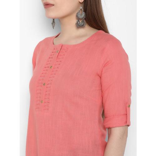 ETHNIC STREET Women Pink Solid Top