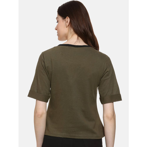Campus Sutra Women Olive Green Solid Top