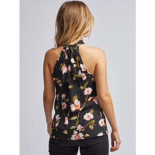 DOROTHY PERKINS Women Black & Peach-Coloured Floral Print Top