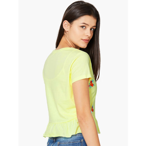 Ginger by Lifestyle Women Yellow Self Design Peplum Top