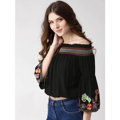 Taurus Women Black Embroidered Detail Crop Bardot Top