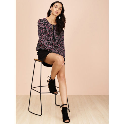 all about you from Deepika Padukone Women Black & Pink Printed Blouson Top