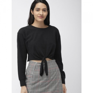 FOREVER 21 Women Black Solid Cinched Waist Crop Top