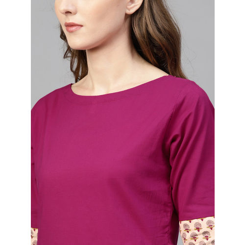 AASI - HOUSE OF NAYO Women Magenta Solid A-Line Top