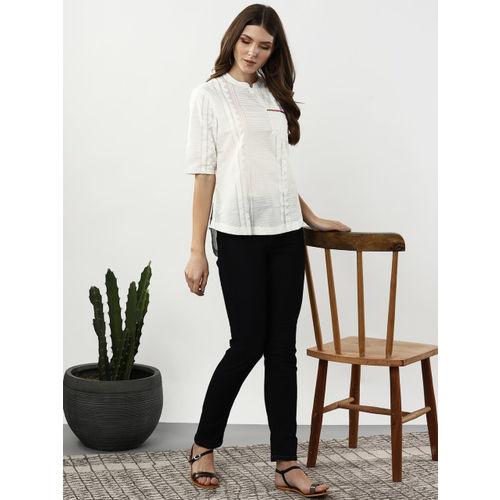 Sangria Women White Striped High-Low Top