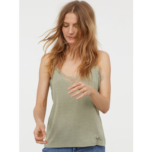 H&M Women Green Solid Top With Lace